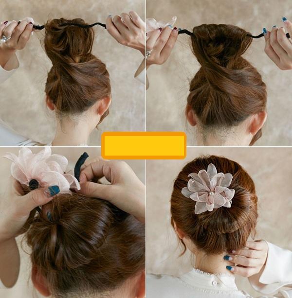 Cột tóc bông hoa