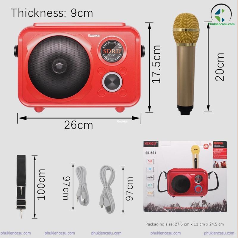 Loa karaoke mini SD-501 tặng 1 micro không dây