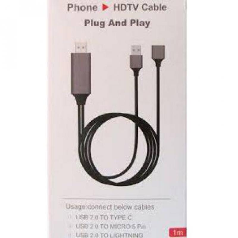 Cáp chuyển tín hiệu từ điện thoại sang Tivi qua cổng HDMI 1080P 3 IN1 (LIGHTING/TYPE-C/MICRO USB)